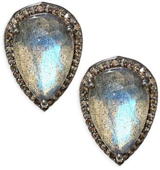 Nina Gilin Diamond & Labradorite Stud Earrings