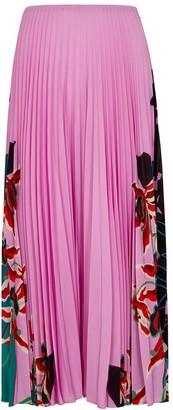 Valentino Pink printed plisse midi skirt