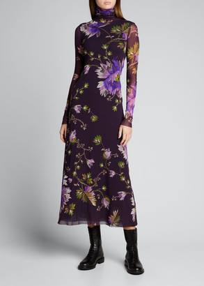 Fuzzi Long-Sleeve Turtleneck Floral-Print Tulle Dress