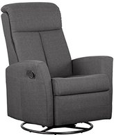 Shermag Swivel Glider with Push-Button Recline, Grey Fabric by