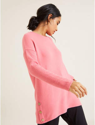 George Pink Slouchy Button Hem Top
