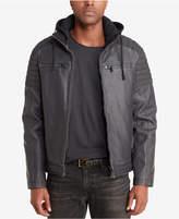 Sean John Men's Faux-Leather Hooded Moto Jacket