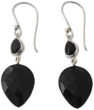 Novica Handmade Onyx Dangle Earrings, 'Delhi Allure'