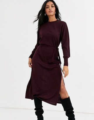 And other stories & high neck knitted midi dress in purple