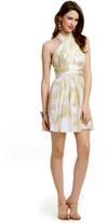 Mark & James by Badgley Mischka Ivory Lurex Halter Dress