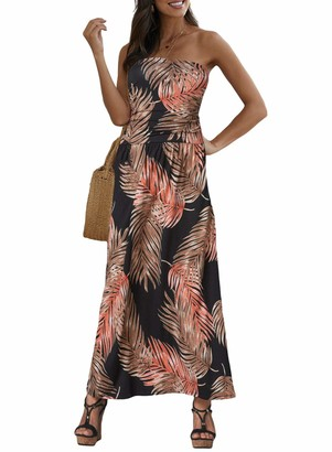 Actloe Women Off Shoulder Boho Bandeau Floral Printed Maxi Dress Orange Large