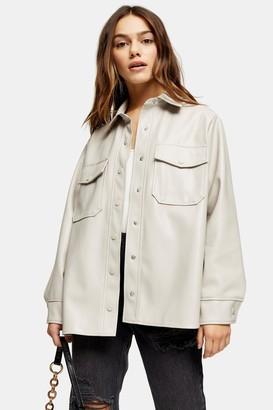 Topshop Womens Petite Taupe Pu Shirt - Taupe
