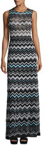 M Missoni Zigzag-Knit Metallic Maxi Dress, Black