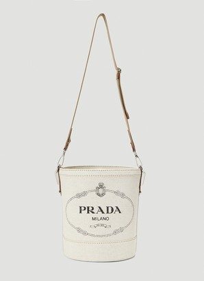 Prada Logo Print Bucket Bag