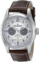 Peugeot Men's 2028 Silver-Tone Multi-Function Brown Leather Strap Watch