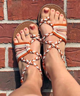 Vines Islandwear Women's Sandals Burnt - Burnt Orange & White Spice Spice Baby X Sandal - Women