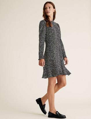 Marks and Spencer Printed Puff Sleeve Mini Tea Dress