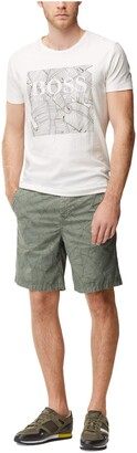 BOSS ORANGE Men's Allover Palm Print Cotton Chino Short