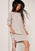 Missguided Grey Off The Shoulder Chunky Lace Up Side Mini Dress