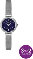 Limit Silver Tone With Mesh Style Bracelet And Blue Dial Ladies Watch
