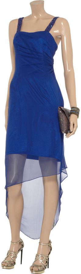 Mikael Aghal Embellished silk-crepe dress