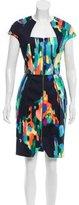 Lela Rose Brush Stroke Print Knee-Length Dress