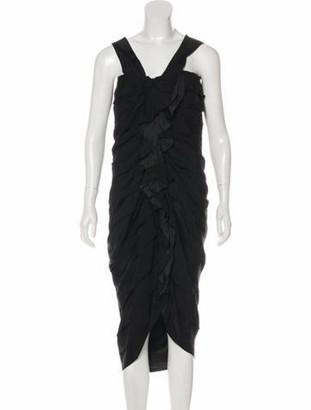 Lanvin Pleated Midi Dress Black