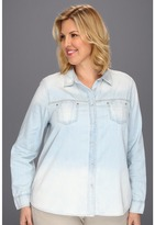 DKNY Plus Size Denim Shirt (Polar Wash) - Apparel