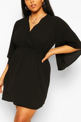boohoo Plus Kimono Sleeve Woven Skater Dress