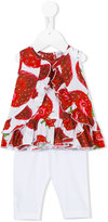 MonnaLisa strawberry print leggings set - kids - Cotton/Spandex/Elastane - 3 mth