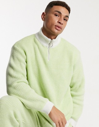 ASOS DESIGN knitted co-ord half-zip ribbed jumper in lime green