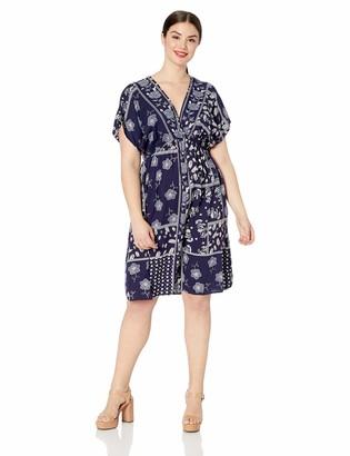 Angie Women's Plus Size Short Sleeve Kimono Dress