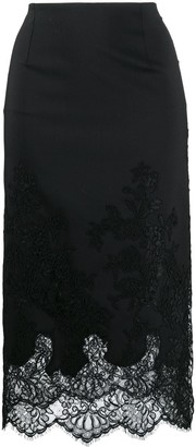 Ermanno Scervino High-Waisted Lace Applique Skirt