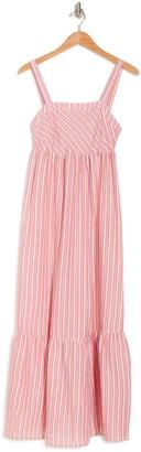 Love Stitch Striped Sleeveless Flounce Hem Maxi Dress