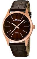 Lotus Men's Quartz Watch with Brown Dial Analogue Display and Brown Leather Strap 15963/2
