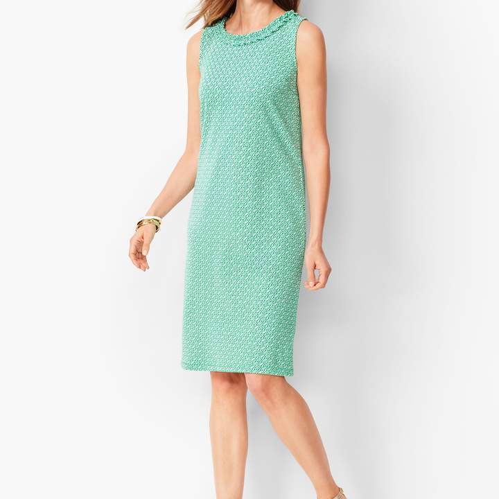Talbots Pleat-Neck Shift Dress - Diamond-Print
