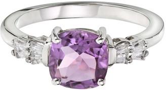 Love Gem 9ct White Gold Cushion Cut Amethyst & 14 Point Diamond Baguette Ring