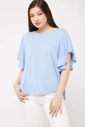 On The Road Goulding Flutter Sleeve Top Periwinkle M