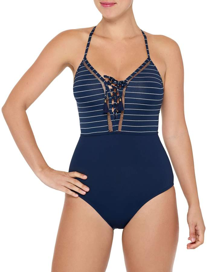 Couture Beach One-Piece Stripe Swimsuit