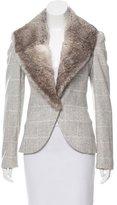Ungaro Rabbit Fur-Trimmed Wool Coat