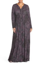 Melissa McCarthy Print Jersey Maxi Dress (Plus Size)