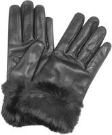 Forzieri Black Cashmere Lined Italian Leather Gloves with Fur