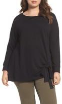 Caslon Plus Size Women's Tie Knot Sweatshirt