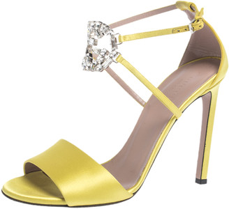 Gucci Yellow Satin Crystal Embellished Ankle Strap Sandals Size 38