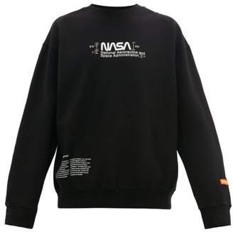 Heron Preston Nasa Print Cotton Sweatshirt - Mens - Black White