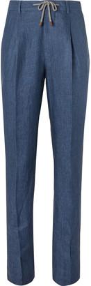 Brunello Cucinelli Tapered Herringbone Linen Drawstring Suit Trousers