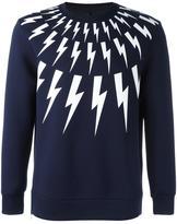 Neil Barrett lightning bolt print sweatshirt - men - Cotton/Polyurethane/Spandex/Elastane/Viscose - XS