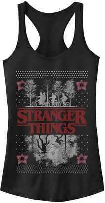 Licensed Character Juniors' Netflix Stranger Things Ugly Christmas Sweater Style Graphic Tank