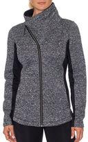 Betsey Johnson Fleece Asymetrical Zip Activewear Jacket