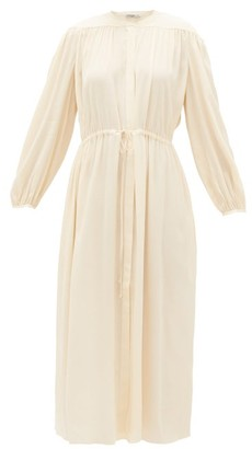 Three Graces London Julienne Balloon-sleeve Crepe Dress - Cream