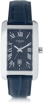 Forzieri Gabriel Rectangular Case Men's Watch w/ Croco Embossed Strap