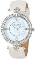 Swarovski Bombshell Women's BS1076-PEARL Lola Crystal Stone White Quilted Italian Leather Strap Watch
