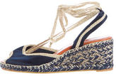 Marc Jacobs Wraparound Satin Wedge Espadrilles