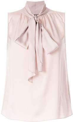 Theory pussy bow sleeveless blouse