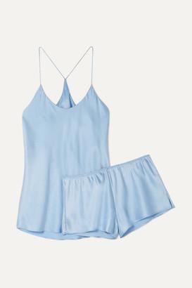 Olivia von Halle Bella Silk-satin Pajama Set - Light blue
